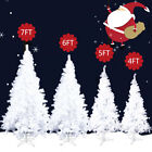 White 4 5 6 7 Feet Tall Christmas Tree W Stand Holiday Season Indoor Outdoor