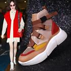 Womens Mixed Color Sneakers Ankle Boots Lace Up Hip Hop Casual Shoes Wedge Heels