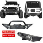 For Jeep Wrangler JK 07 18 Black Metal Front  Rear Bumper w LED Lights+D Rings