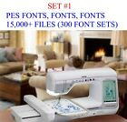 SET 1 15000 PES Format Machine Embroidery Files 300 Font Sets on USB