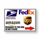 Packages To The Side In Box Please Arrow Right Sign METAL 3 SIZES delivery MS050