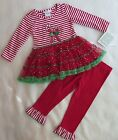 Bonnie Jean Little Girls 2-Piece Striped Candy Cane Dress & Leggins 3/3T - NWT