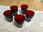 Beautiful Lot of 5 Vintage Anchor Hocking Royal Ruby Red Windsor Tumbler Glasses