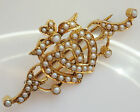 Charming Victorian Romantic 15ct Gold Pearl set 'Entwined Hearts' Brooch c1885