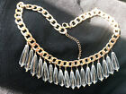 "Goldone clear acrylic teardrops chunkcy hain choker 17.5"" necklace w/extender"