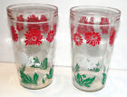 Vintage Pair of Drinking Water Glassed Cups Red Green White Flowers Floral