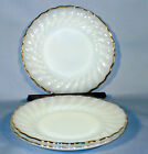 3 ANCHOR HOCKING FIRE KING GOLD RIM SCALLOP SWIRL MILK GLASS 7 1/4