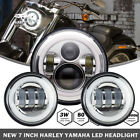 7 Chrome LED Motorcycle Headlight + Passing Lights For Harley Touring Softail