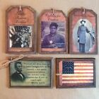 5 HANDCRAFTED Wooden PRiM July 4th  Hang Tags/Ornaments SET01