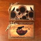 5 Handcrafted Wood Hang Tags/ORNIES/Ornaments PRIM SHEEP CROW SUNFLOWERS SET1