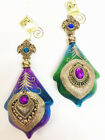 New Mark Roberts Purple Green Gold Jeweled Glass Peacock Christmas Tree Ornament