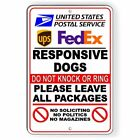 Responsive Dogs Do Not Knock No SolicIting Sign METAL 3 SIZES usps SI109