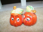 Vintage anthropomorphic Fruit Pumpkin Pear Apple salt and pepper shakers Face