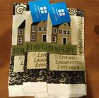 3  NWT Primitive Saltbox House Kitchen Towel Live Well Laugh Often Simplify