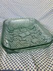 Vintage Libbey Baking Cooking/ Casserole Dish Green Glass Orchard Fruit Pattern