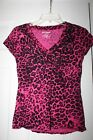 Juicy Couture Womens Pink Black Leopard Print Tee Shirt Size Size S Small
