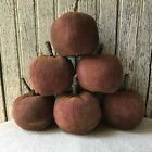 6 Primitive Red Fabric Apples Bowl Fillers Fall Harvest