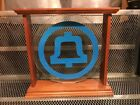 VINTAGE Bell System RARE HARD TO FIND Glass w Wood Frame Logo Telephone
