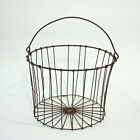 Antique Wire Egg Basket Swing Bale Handle Hand Made Farm Antique Excellent Clean