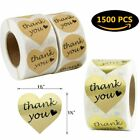 1500 Thank You Adhesive Gift Stickers Heart  Round Shape Kraft Gold Foil Labels
