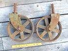 2 LARGE ANTIQUE CART CAST IRON WHEEL CASTERS GIANT VINTAGE RUSTIC 10 inch