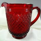 Addison Pattern Water Pitcher Dark Ruby Red Glass Heavy by Mosser 48 oz