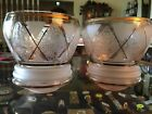 Rare Pair Vntg Elegant Pink Frosted Etched Glass W/ Gold Trim Globe Lamp/Shades