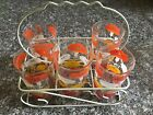 Vtg Mid Century Tumblers Orange Yellow White Glasses With Wire Carrier Set 5
