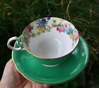 Aynsley Fine English Bone China Tea Cup and Saucer Green Foral Design Antique