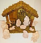 Vintage Christmas Nativity Set 11 Terra Cotta Figurines w Wood Creche Large