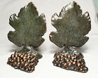 Grape Leaf with Grapes Solid Bronze Antique Bookends/Marked Kraftware, ~1930