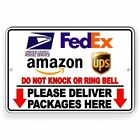Deliver Packages Here Do Not Knock Or Ring Arrows Down Metal Sign 3 SIZES SI114