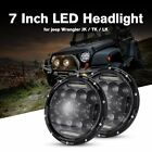 2PC 7 Round Projector LED Headlight Canbus Hi Lo DRL Fit Jeep Wrangler Harley