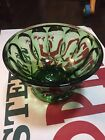 Vintage Dark Emerald Green Glass Candy Dish Footed Compote Fruit Bowl Stunning