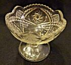 Vintage 4.75 Bowl Pinwheel Pillow Clear Glass Jelly Compote 3-mold Scallop Edge