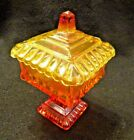 Vintage Square Compote with Lid Amberina Candy Dish w/ Amber Yellow Tint USA