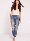 MISSGUIDED riot high rise crop distress slim leg jeans vintage blue SIZE 6 US