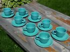 Eight turquoise Fiestaware teacups and saucers in very good condition no chips