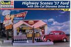 Revell Highway Scenes 1937  '37 Ford w/ Die-Cut Diorama Drive-In in 1/24 7800