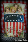 Patriotic vintage pillow children shield floral 4th of July flag AMERICAN MADE