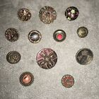 antique buttons Group Of 12, Painted Metal, Old Glass, Glass In Metal, Fabric