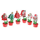 6pc Xmas Style Wooden Clipd Paper Photo Notes Clips for Christmas Decoration