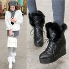 Womens Lace Up Fur Lined Wedge Heel Snow Boots Winter Warm Platform Ski Shoes