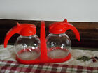 Pair Hazel Atlas Petite Syrup Honey Pitchers Dispensers WITH CARRIER