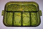 Vintage Green Glass 5 Part Divided Relish Tray Dish Tiara Fruit Vegetable 11 x 9