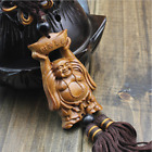 Fortune Buddha Wood Carving Gift Car Key Pendant Door Hang Decorative Mascot 2""
