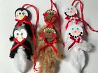 Chenille Christmas ornaments, snowman, penguin, gingerbread, Item# M1