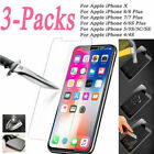 Fit iPhone 10 X 6S 7 8 Plus Real Tempered Glass Protective Screen Protector Film