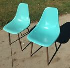 Vintage Fiberglass Shell Chair - Turquoise Blue - Matching Pair