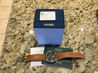 Seiko Prospex SUN055 Men's Kinetic Leather Band Black Dial GMT Analog Watch/Used